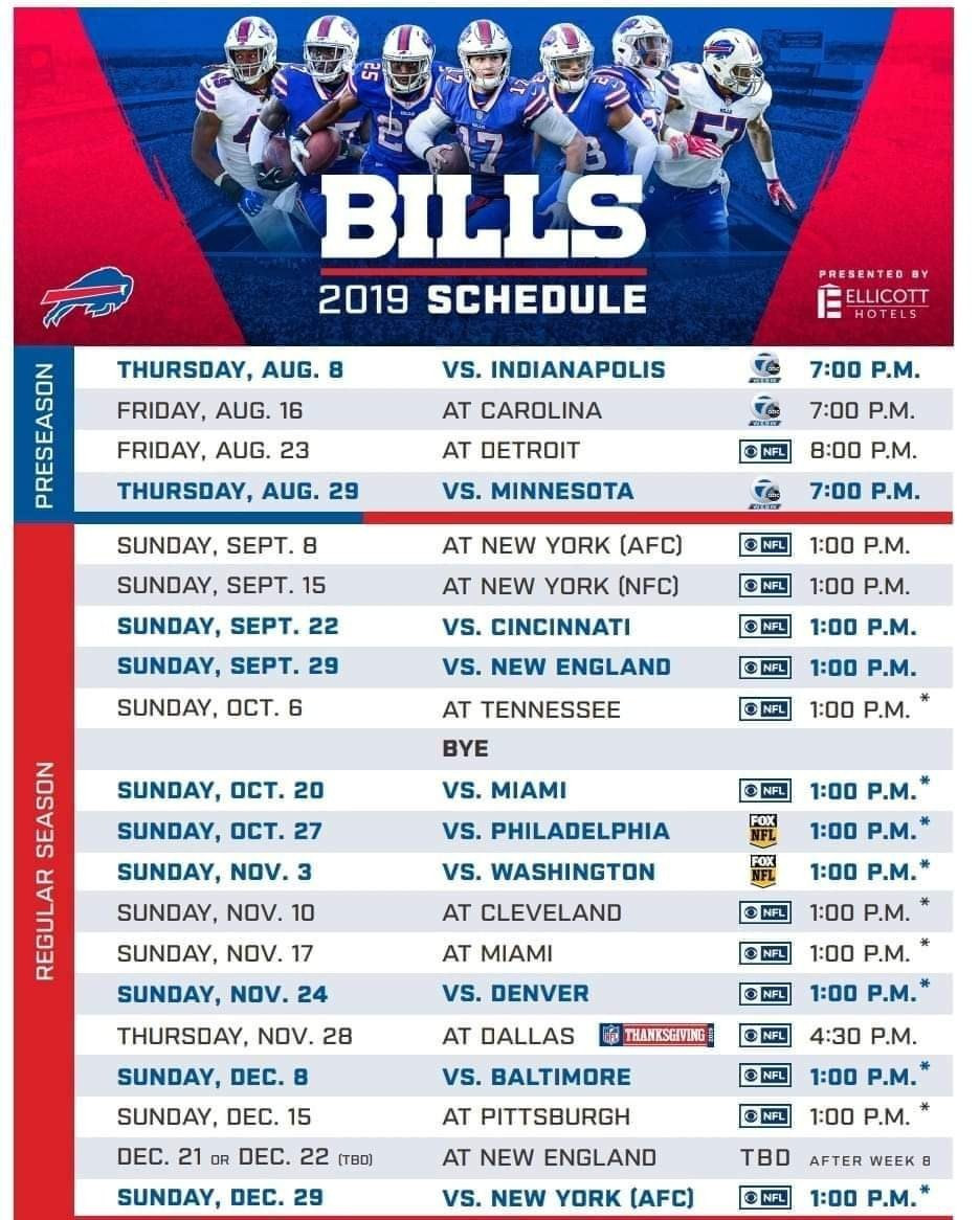 Gorgeous image for buffalo bills printable schedule
